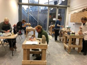 School of Sideways Sculpture participants at Edinburgh Sculpture Workshop, led by Charlotte Barker, 2019.